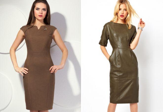 коричневое платье футляр