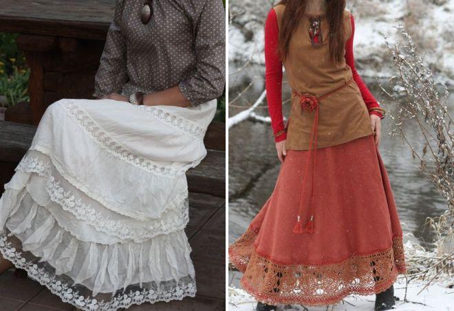 юбки с кружевом в стиле бохо