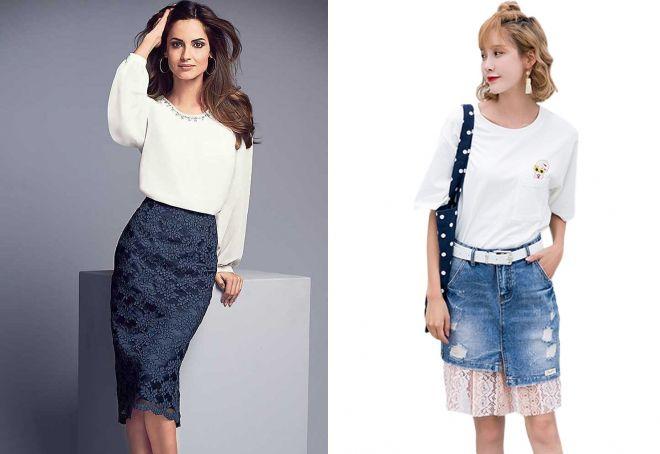 модные юбки с кружевом