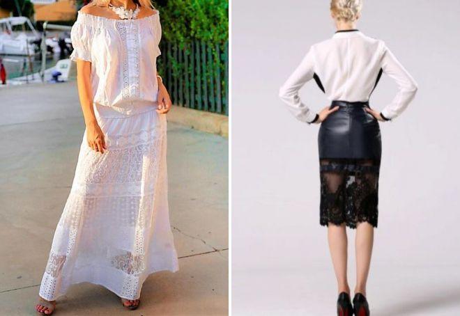 белая кружевная юбка