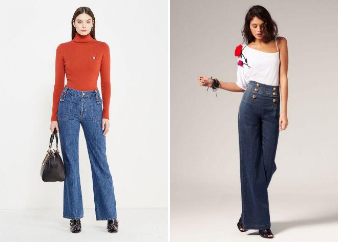 широкие джинсы осень 2018