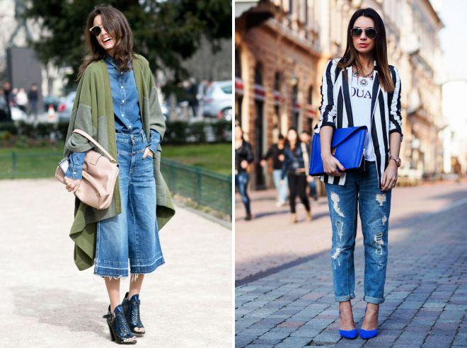 с чем носить джинсы осенью 2018