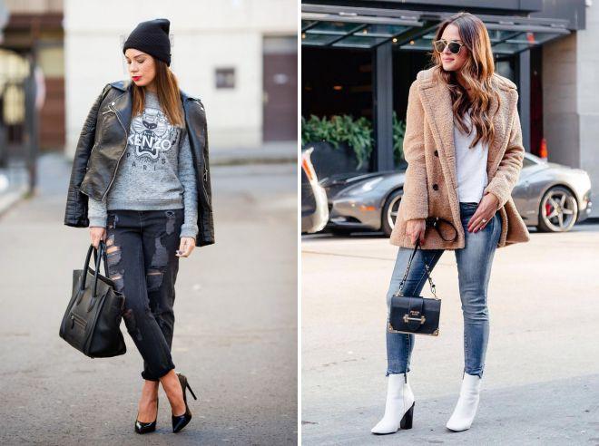 модные образы на осень 2018 с джинсами