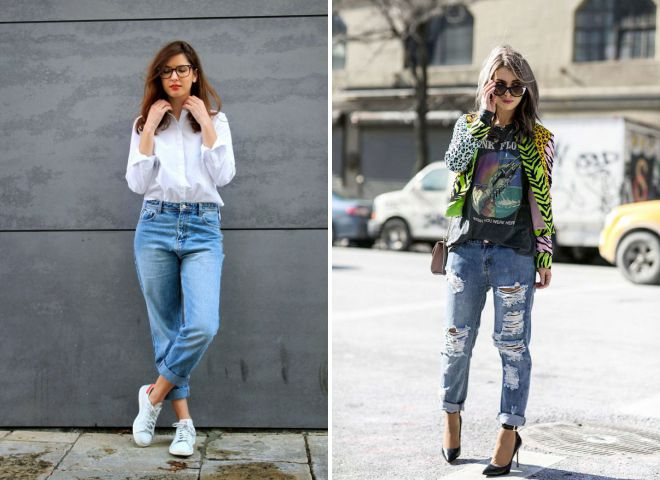 мода осень 2018 джинсы