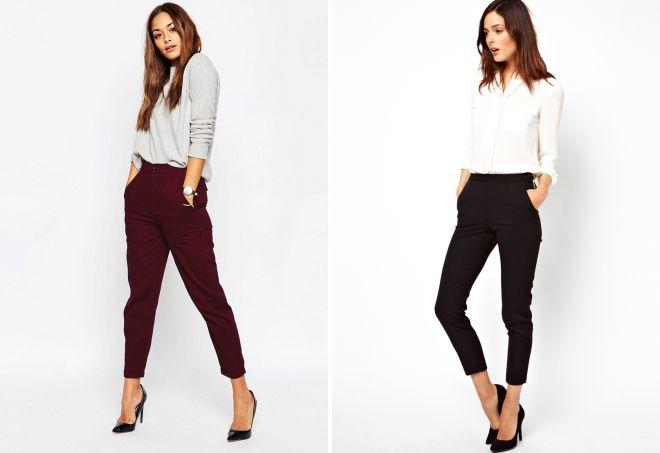 узкие короткие брюки