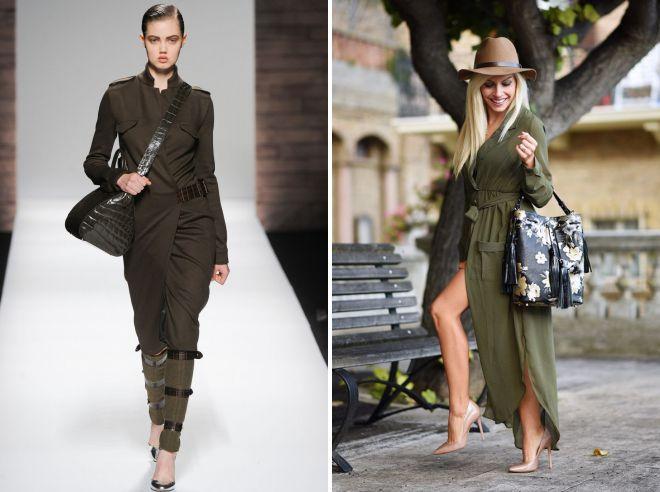 платье в стиле милитари с длинным рукавом