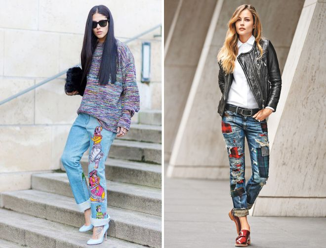 с чем носить джинсы бойфренды с вышивкой