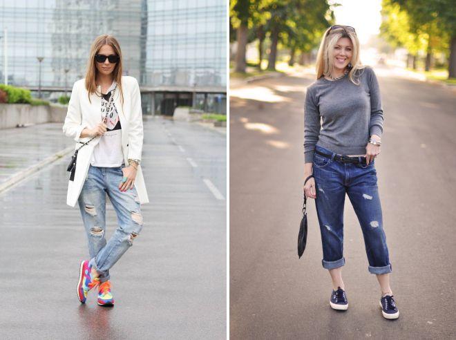 с чем носить джинсы бойфренды обувь