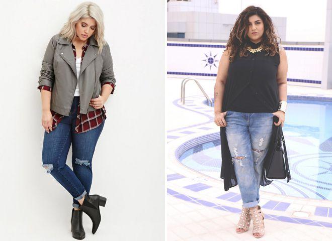 что носить с джинсами бойфрендами полным