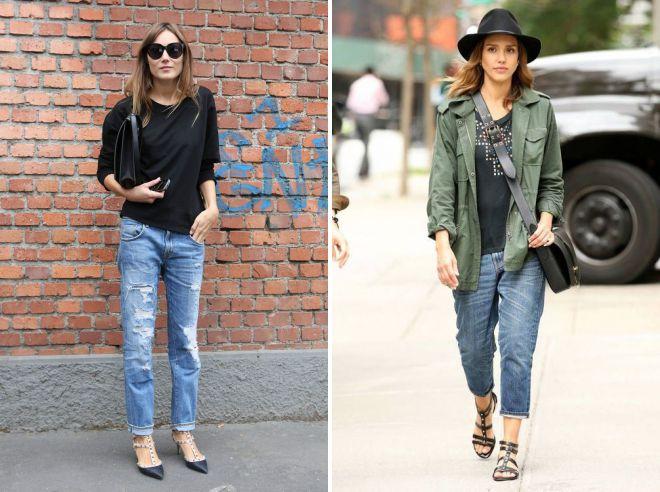образы с джинсами бойфрендами