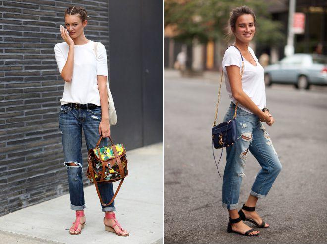 с чем носить джинсы бойфренды летом