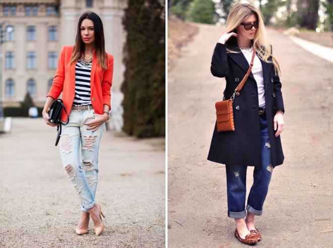 с чем носить женские джинсы бойфренды осенью