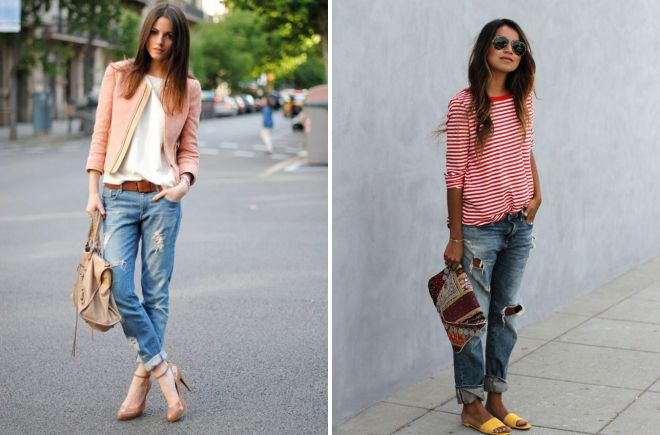 с чем носить рваные джинсы бойфренды