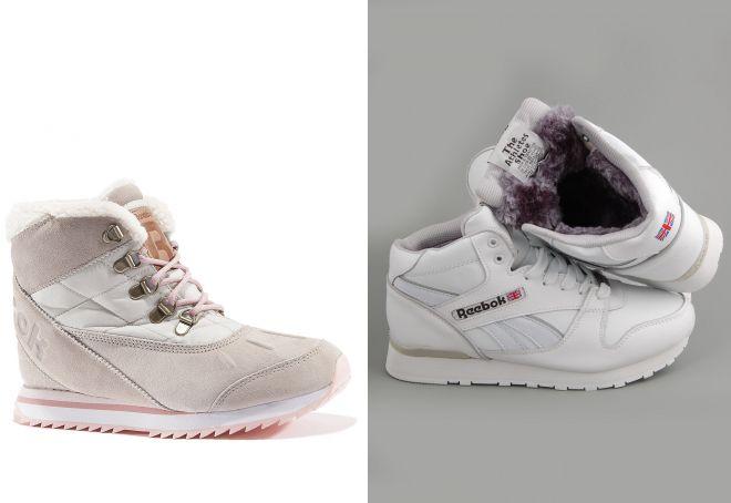 5ba3a063 Зимние женские кроссовки с мехом – высокие, белые, джинсовые ...