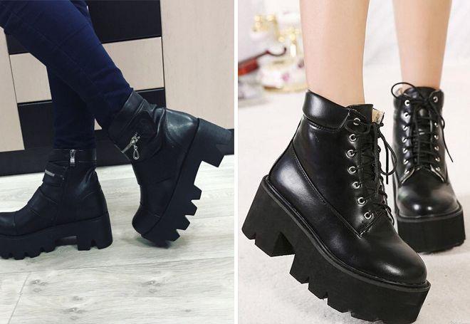 0aaec601 Модные женские высокие ботинки на платформе, шнуровке, тракторной ...