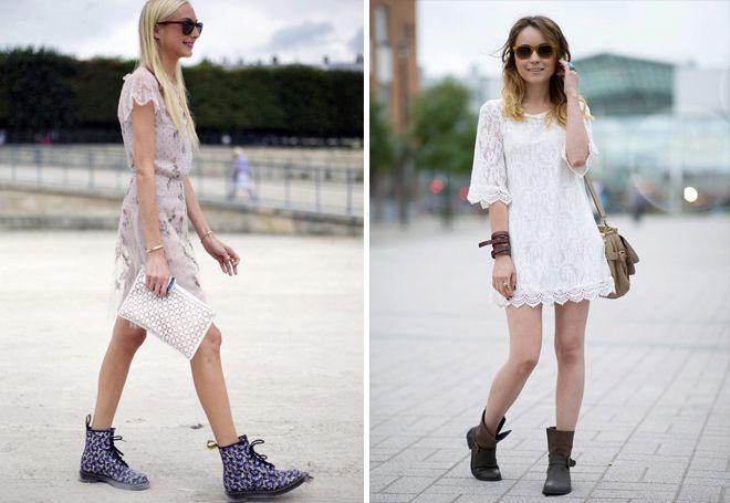 высокие ботинки с платьем
