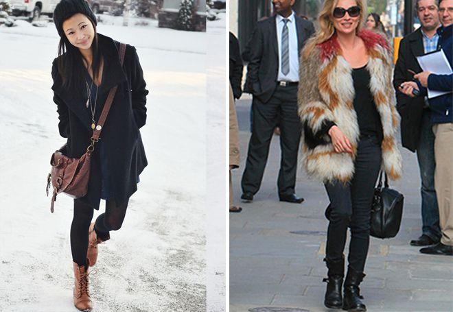 верхняя одежда к зимним высоким ботинкам