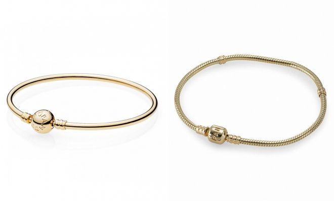 золотой браслет для шармов