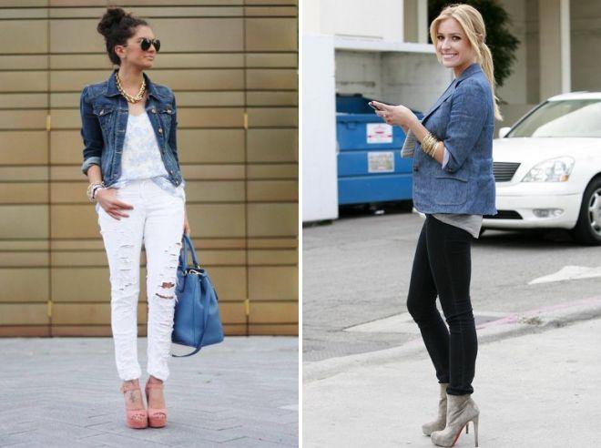 с чем носить женский джинсовый пиджак