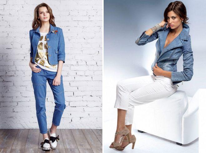 брюки с джинсовым пиджаком