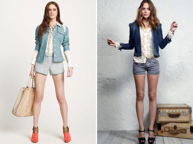 шорты с джинсовым пиджаком
