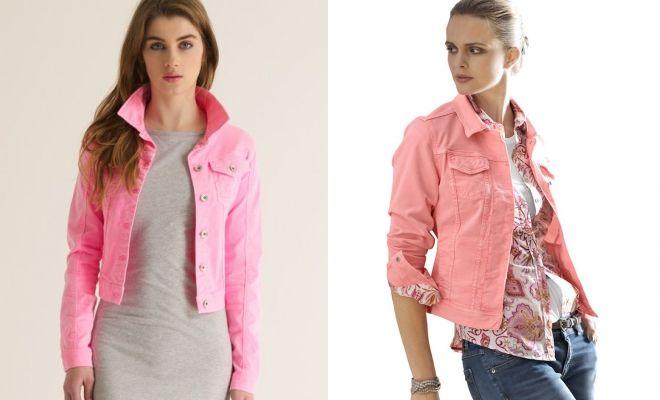 розовый джинсовый пиджак