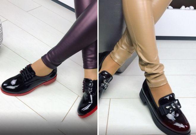 женские лакированные туфли без каблука