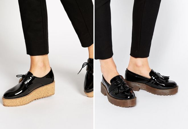 лаковые туфли на платформе