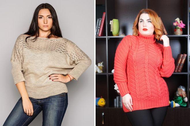 модные свитера для полных 2018