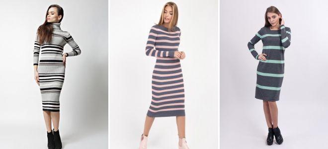 Вязаное платье в полоску