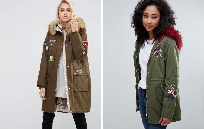 женские куртки парки с нашивками