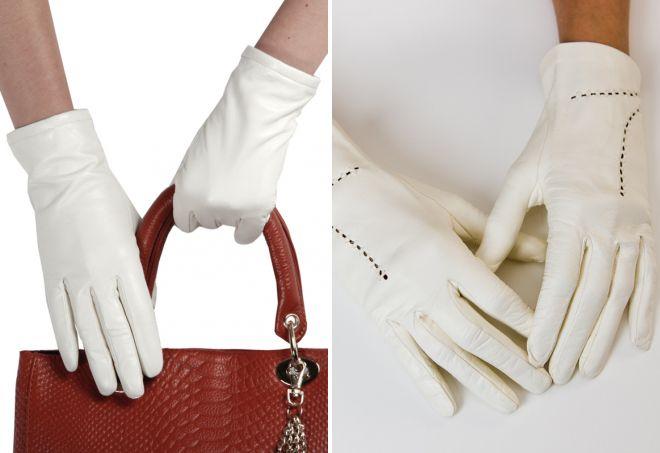 белые кожаные перчатки