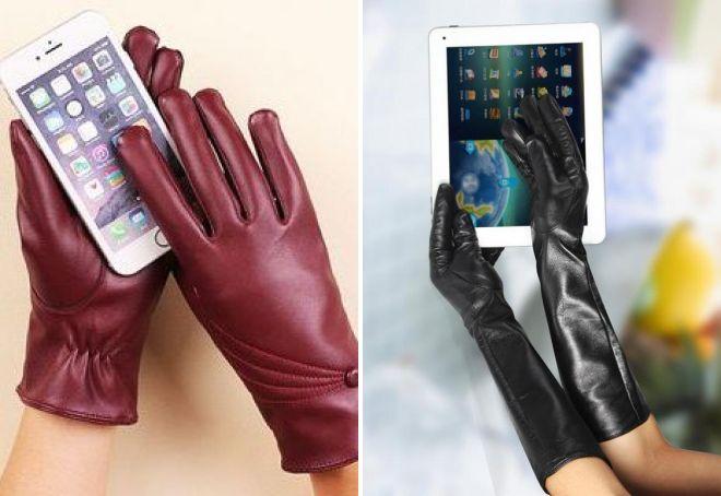 кожаные сенсорные перчатки
