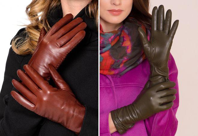 модные кожаные перчатки
