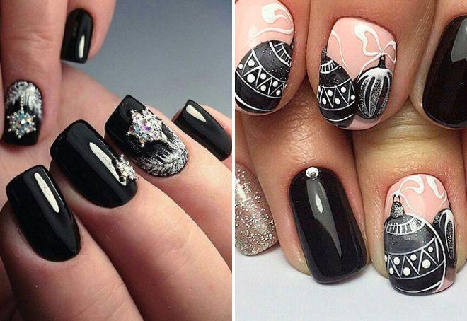Novogodišnji crni manikir sa kamenčićima