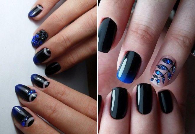 crni manikir sa kamenčićima za kratke nokte
