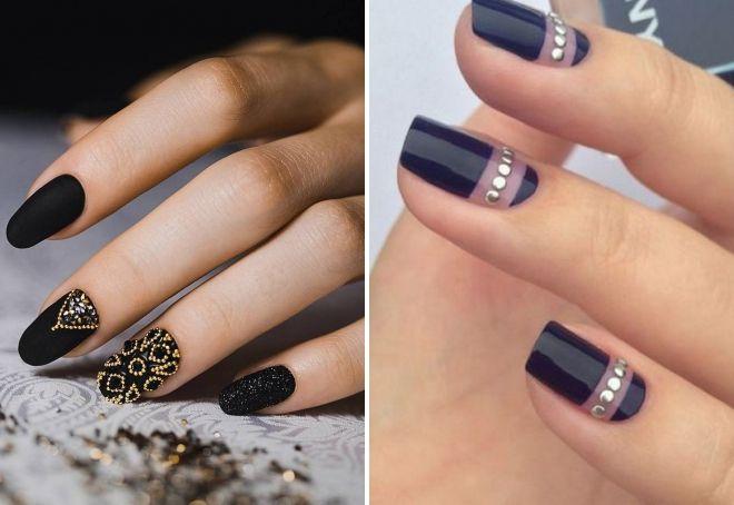 ideje crni manikir sa kamenčićima