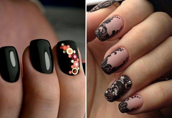 prekrasan crni manikir sa kamenčićima