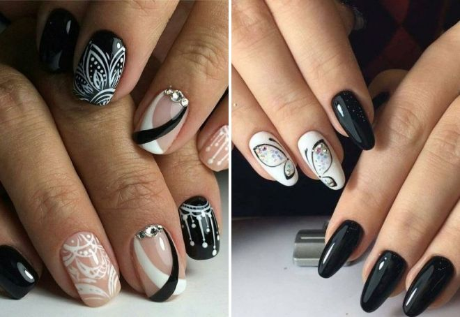 crna i bijela manikura sa kamenčićima