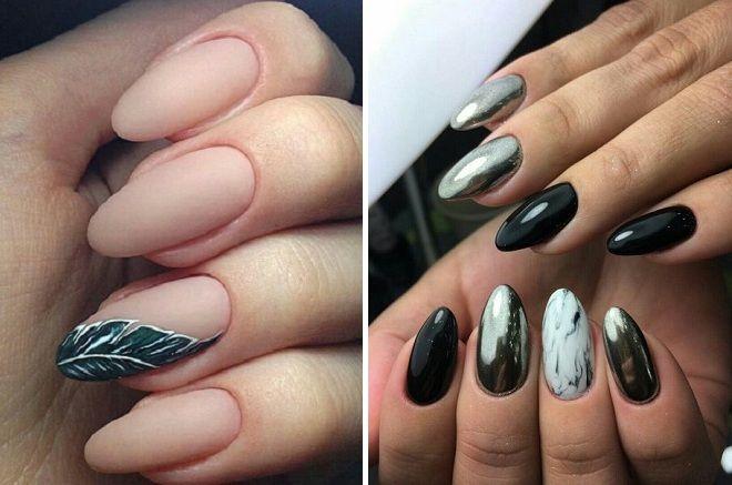 маникюр на длинные круглые ногти