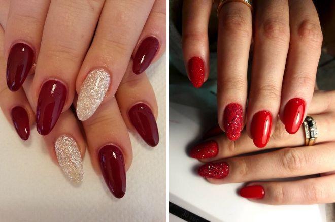 красный маникюр на круглые ногти