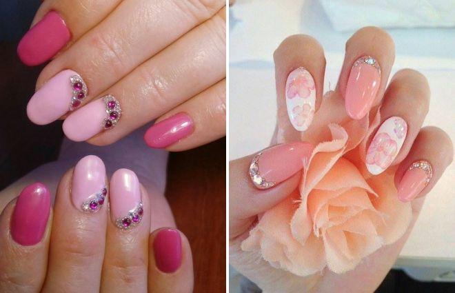 розовый маникюр на круглые ногти