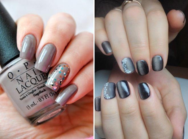 серый маникюр на квадратные ногти