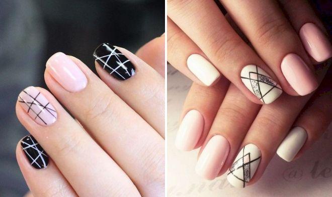 маникюр геометрия на квадратные ногти