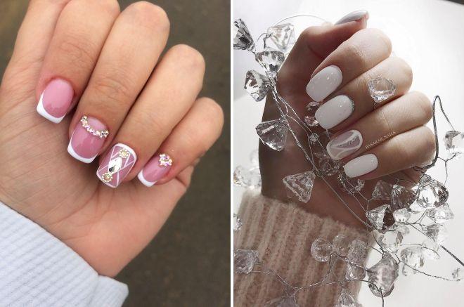 свадебный манкюр на квадратные ногти