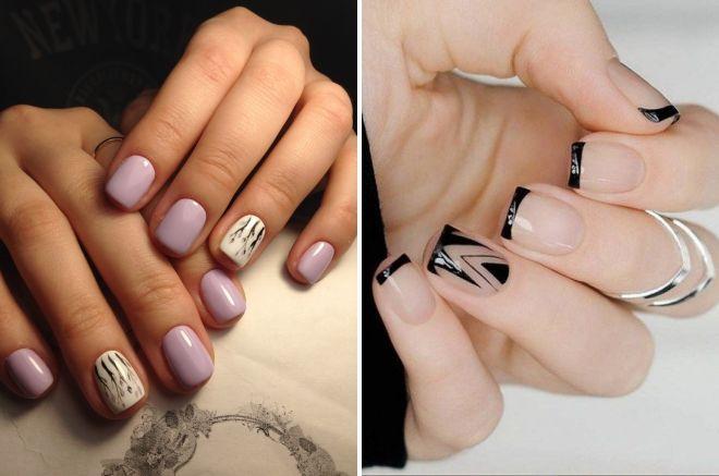 маникюр на короткие квадратные ногти