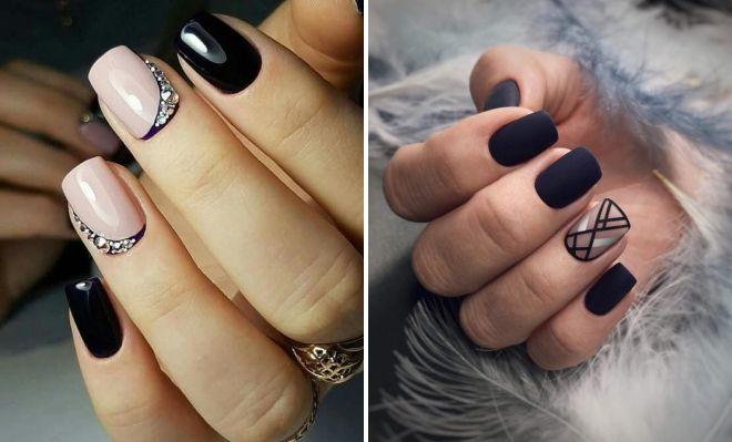 черный маникюр на квадратные ногти