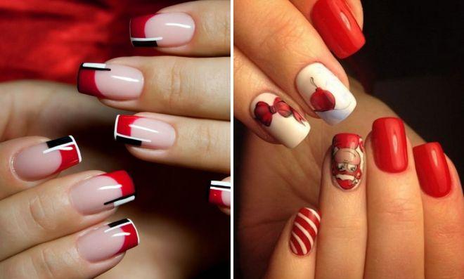 красный маникюр на квадратные ногти