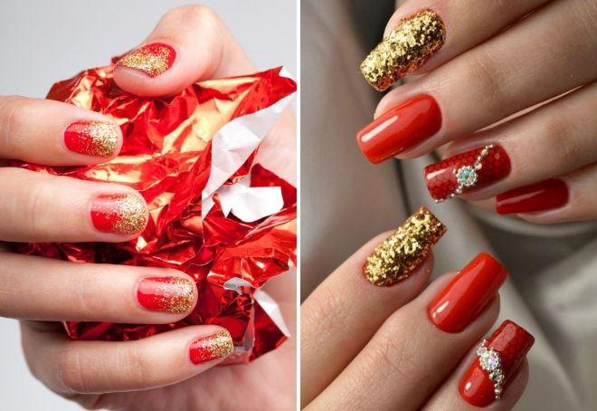 crvena manikura sa zlatnim iskricama