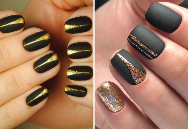 crni manikir sa zlatnim iskricama